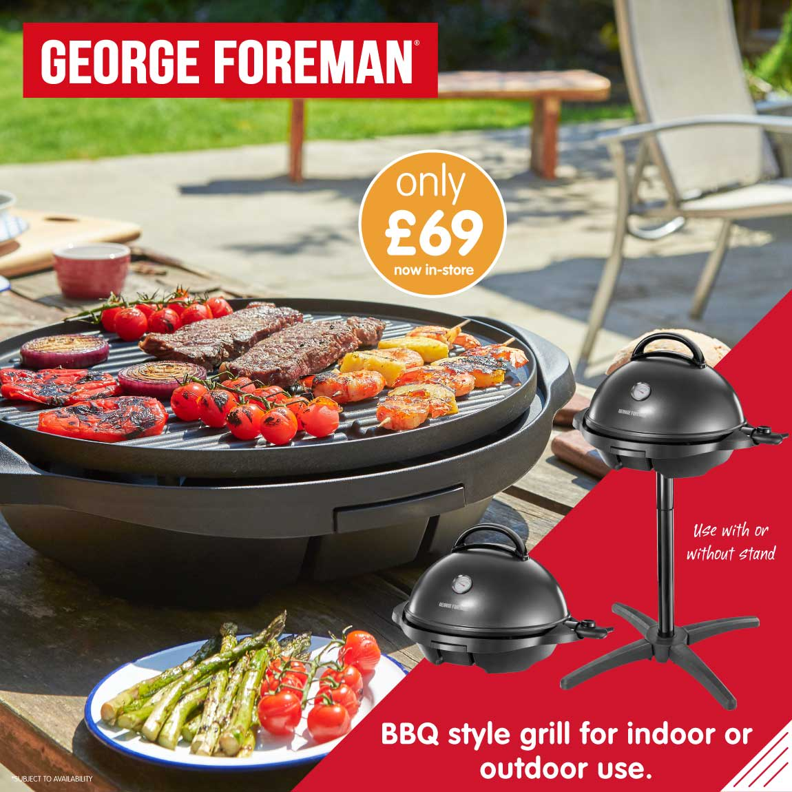 Save on George Foreman Indoor-Outdoor BBQ Grill at B&M.