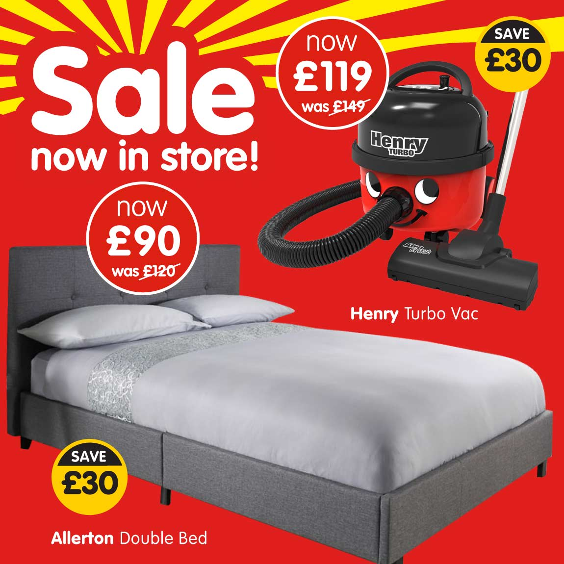 Sale now in store at B&M.