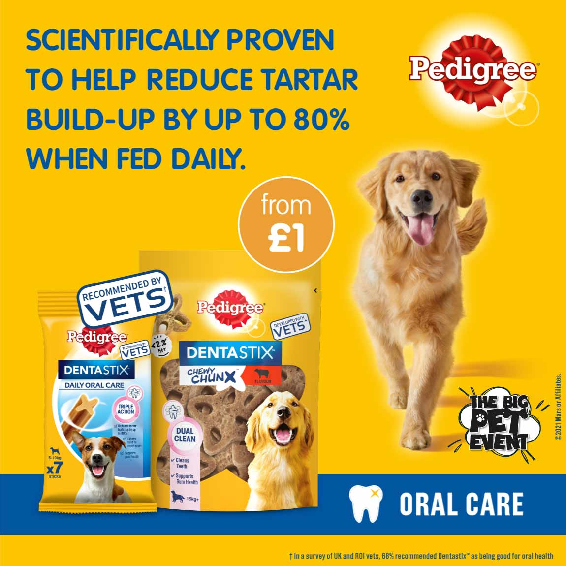 Save on Pedigree and Dreamies in the B&M Pet Event.