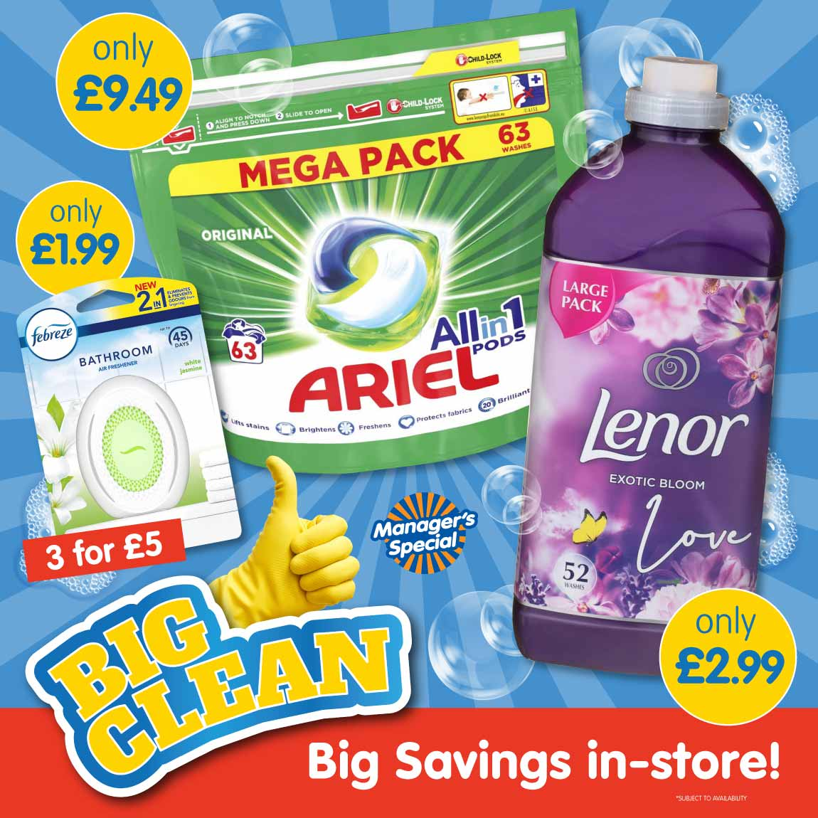 Save on Fairy, Ariel, Lenor, Flash and Febreze at B&M.