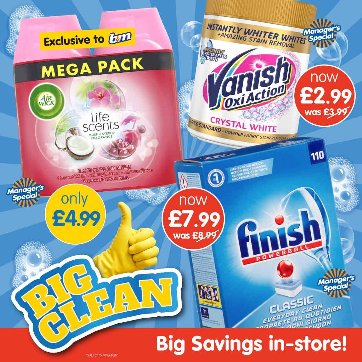 Save on Air Wick, Vanish and Finish at B&M.