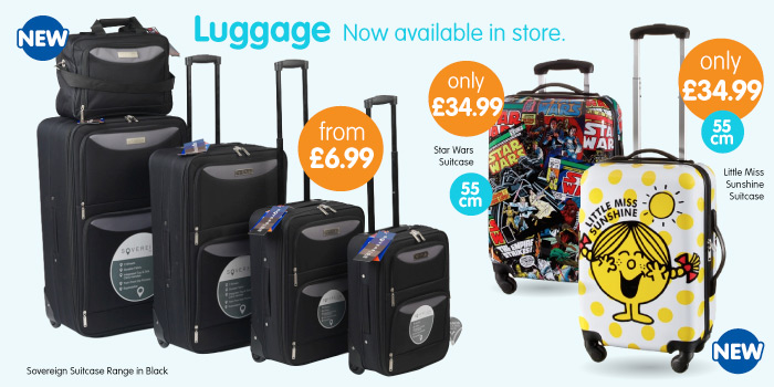 Big selection of suitcases available at B&M Stores.