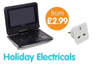 Save on Holiday Electricals including Selfie Sticks and European Plugs at B&M Stores.