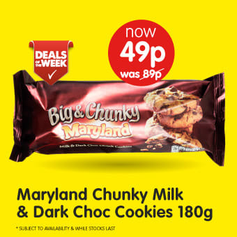 Maryland Chunky Milk & Dark Choc Cookies 180g B&M Deals of The Week.