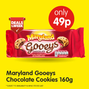 Maryland Gooeys Chocolate Cookies 160g B&M Deals of The Week.