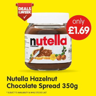 Nutella Hazelnut Chocolate Spread 350g B&M Deals of The Week.