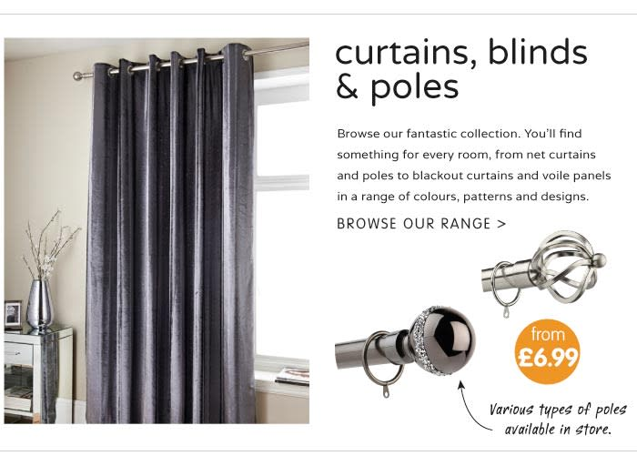Browse Curtains at B&M.