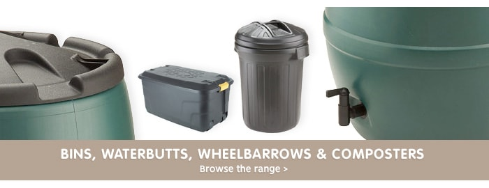 Save on outdoor bins and water butts at B&M.