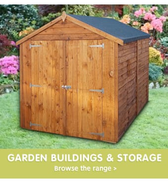 Save on sheds and garden buildings at B&M.