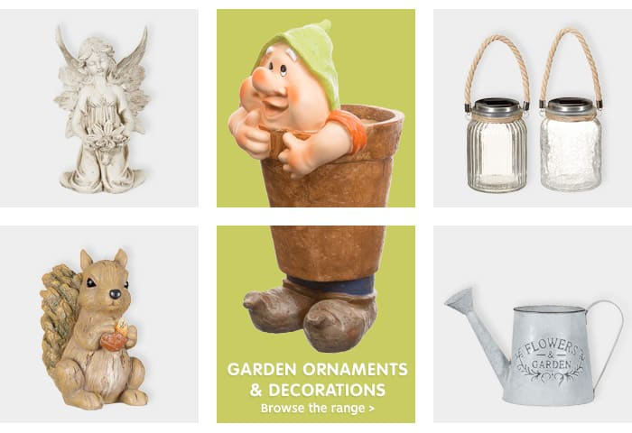 Save on decorative gardern ornaments at B&M.