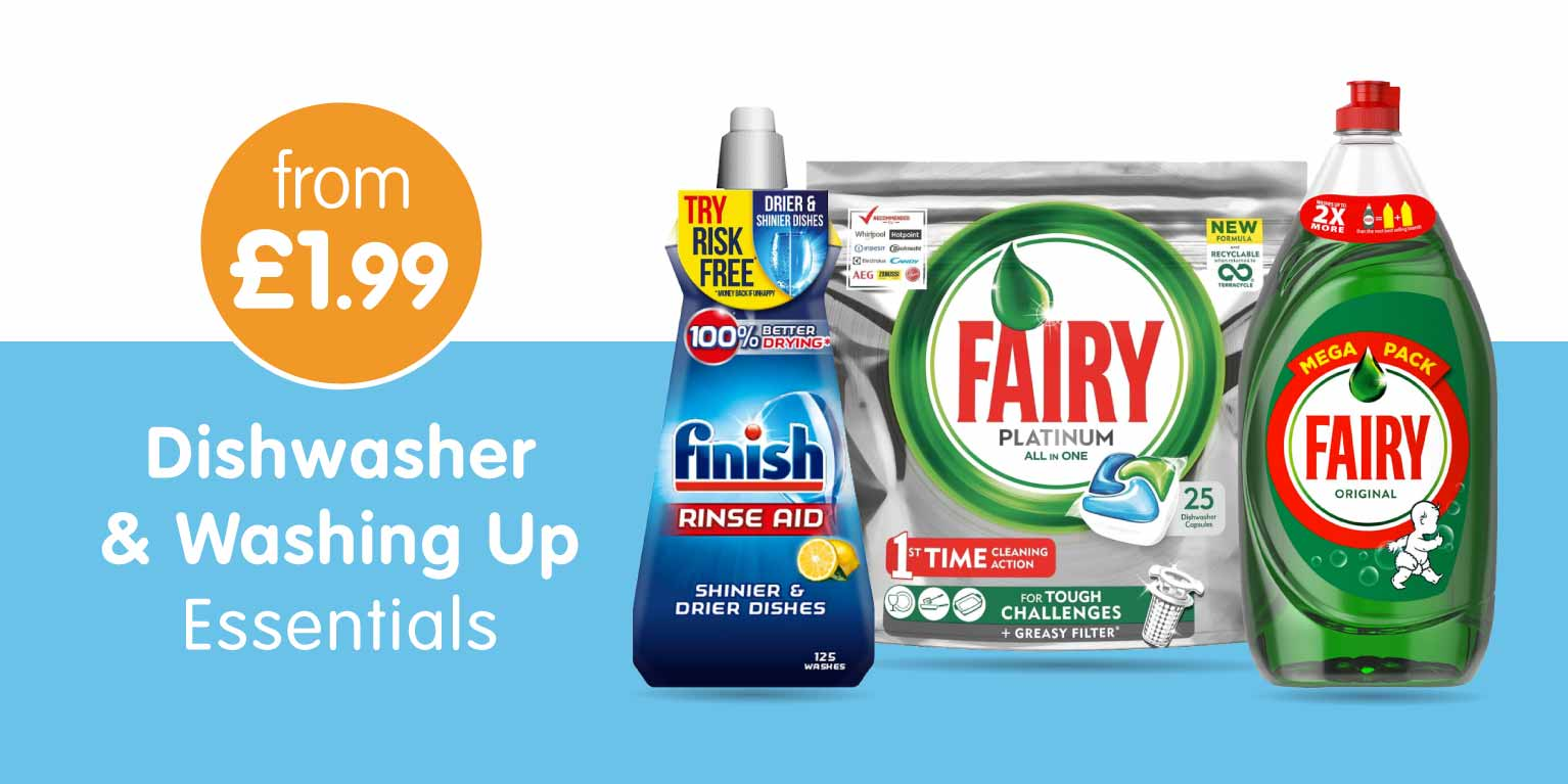 Save on Dishwasher & washing Up Essentials at B&M.