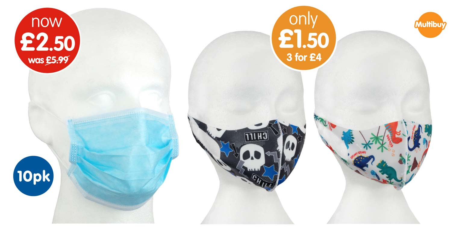 Face Mask Coverings available to buy at B&M.