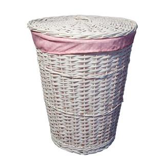 B Amp M White Lined Round Linen Basket 254952