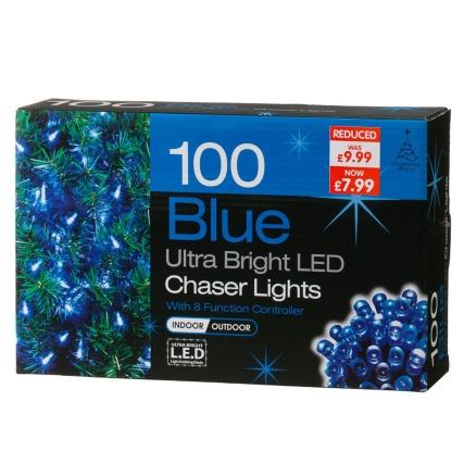 B Amp M Gt 100 Bulb Blue Led Chaser Christmas Lights 257567