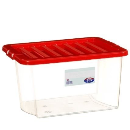 Clear Storage Box with Lid 30L