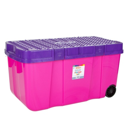 269828--100L-Heavy-Duty-Storage-Box-with-wheels-Fuchsia-and-Violet