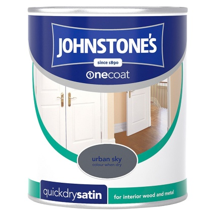 Johnstone S One Coat Satinwood Paint Urban Sky 750ml Diy