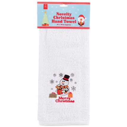284905-Novelty-Christmas-Hand-Towel-merry-snowman1
