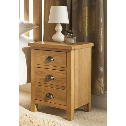 B m wiltshire oak 3 drawer bedside 319188 b m - Table that attaches to bed ...