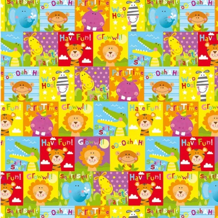 Kids Wrapping Paper - Jungle Squares - 3m | Gift Wrap
