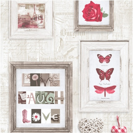 Muriva Live, Laugh, Love Wallpaper - Red