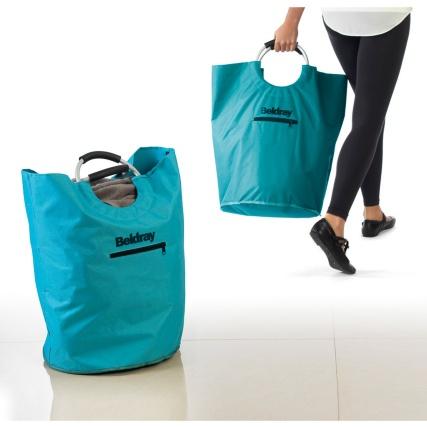 Folding laundry bin bag hamper bathroom laundry storage for Teal bathroom bin