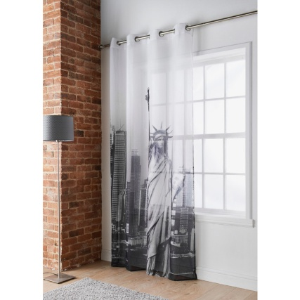 b m cities printed voile new york voile curtains. Black Bedroom Furniture Sets. Home Design Ideas
