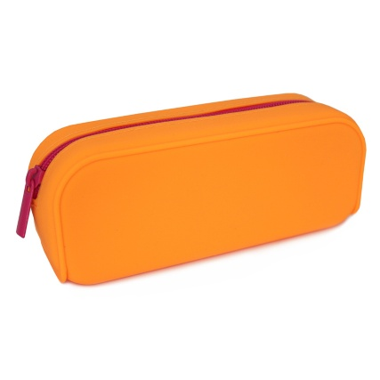 301395-Orange-Silicone-with-Pink-Zip-Pencil-Case