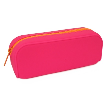 301395-Pink-Silicone-with-Orange-Zip-Pencil-Case