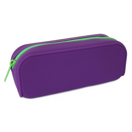 301395-Purple-Silicone-with-Green-Zip-Pencil-Case