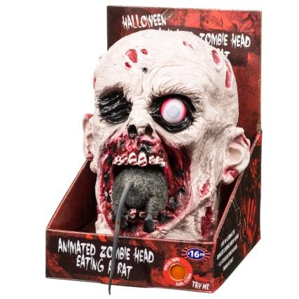 Animated Zombie Head Eating Rat Halloween Decoration B Amp M