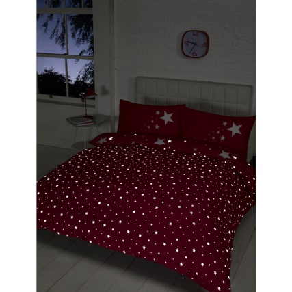 Glow In The Dark Double Duvet Set Pink Bedding Duvet