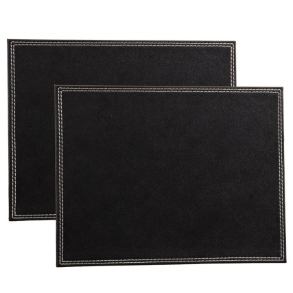 302601-Set-of-2-Leatherette-Placemats-black-main1