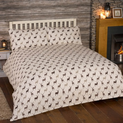 Stag Brushed Cotton Duvet Set King Size