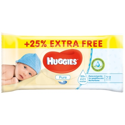 304750-Huggies-Pure-Baby-Wipes-Extra-Free-Single-pack-72-Wipes