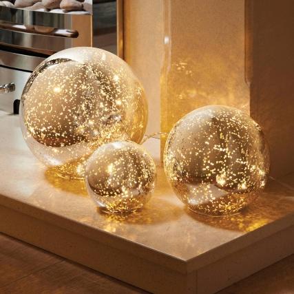 3 Mercury Glass Ball Lights Set Decorative Accessories