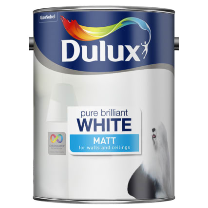 dulux pure brilliant white matt emulsion 5l painting. Black Bedroom Furniture Sets. Home Design Ideas