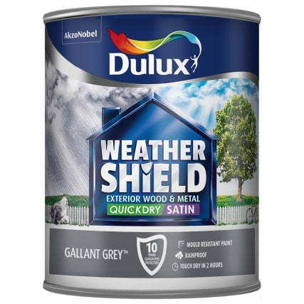 Dulux weathershield quick dry satin gallant grey 750ml - What is satin paint ...