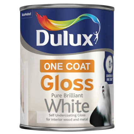 dulux one coat gloss paint pure brilliant white 750ml. Black Bedroom Furniture Sets. Home Design Ideas