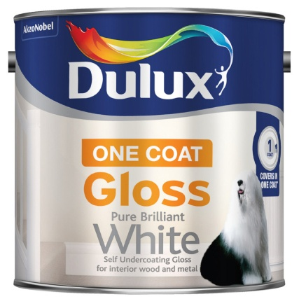 dulux one coat gloss paint pure brilliant white 2 5l. Black Bedroom Furniture Sets. Home Design Ideas