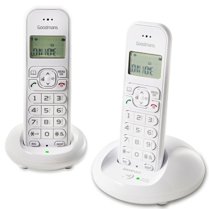 306001-Goodmans-Cordless-Twin-Dect-Phone-white