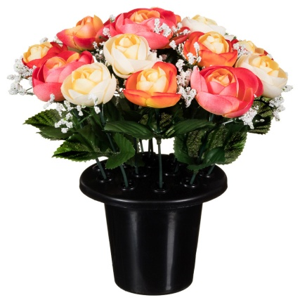 306365-25cm-Floral-Grave-Pots-orange1