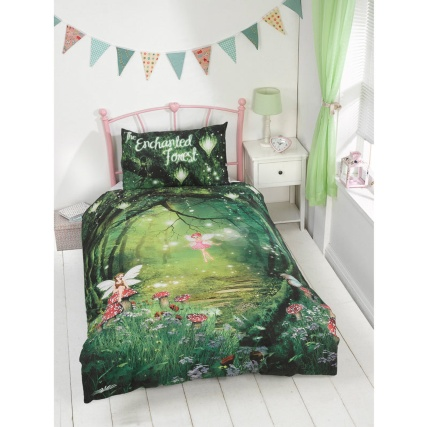 Kids Glow In The Dark Single Duvet Set Enchanted Forest