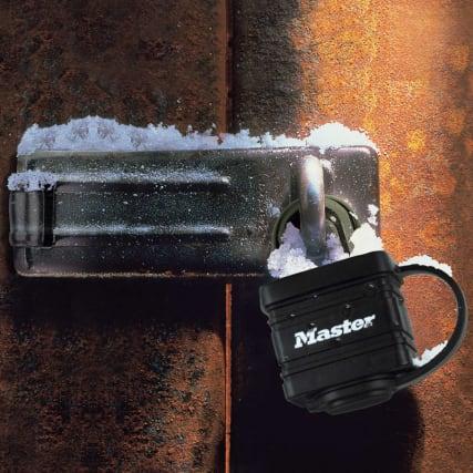 308614--PADLOCKS---HASP--BLACK-PADLOCK---in-use