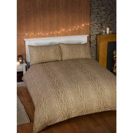 B Amp M Cable Knit Double Duvet Set Natural Bedding Bed Set