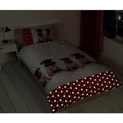 Pug Glow In The Dark Single Duvet Cover Puppy Love Bedding