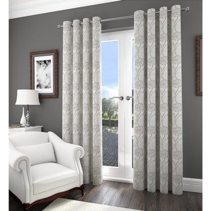 Savannah Floral Jacquard Fully Lined Curtain 66 x 90