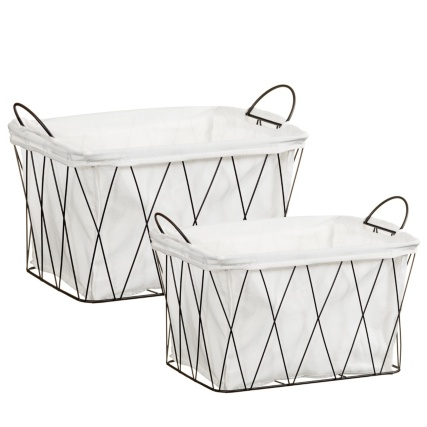 Wire Storage Baskets 2pc - Black