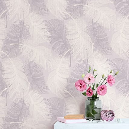 312044-FEATHER-MOTIF-PINK-MOAVE-Wallpaper