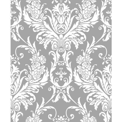312076-Medina-Flock-Silver-Wht-Damask-Wallpaper